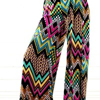 Multi Geometric Chevron Palazzo Pants |  MakeMeChic.com