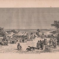 French Engraving from 1860- Touareg Camp (North Africa)