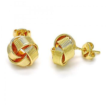 Gold Layered 02.63.2373 Stud Earring, Love Knot Design, Polished Finish, Golden Tone