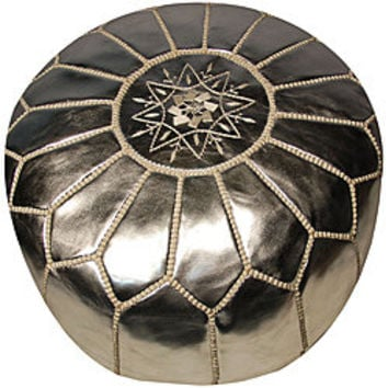 Leather Silver Pouf Ottoman (Morocco) | Overstock.com