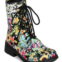 Qupid Missile-04 New Floral Lace Up Round Toe Combat Boot w/ Side Zipper - Black Multi Fabric