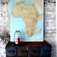 Vintage 1970s large school geographical map of Africa