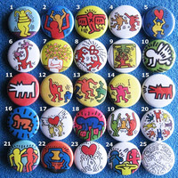5 spille spillette pins a scelta Keith Haring (2,5 CM - 25 MM)