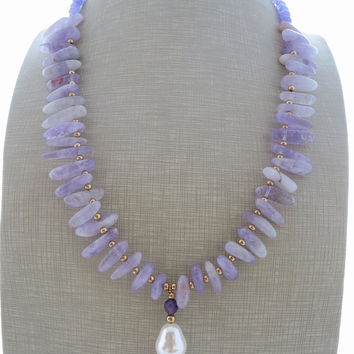 Purple amethyst necklace, stone necklace, pearl pendant necklace, uk gemstone jewellery, beaded necklace, boho chic jewelry, christmas gift