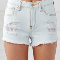Bullhead Denim Co. White Wash Ripped High Rise Cutoff Denim Shorts at PacSun.com