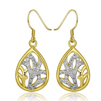18K Gold Classic Tree Branch Drop Down Earrings Made with Swarovksi Elements