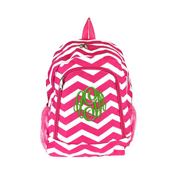 Hot Pink Chevron Personalized Backpack -  Monogrammed Girls Kids Childrens Zig Zag Stripes White Teal Blue Ocean School Elementary Bookbag
