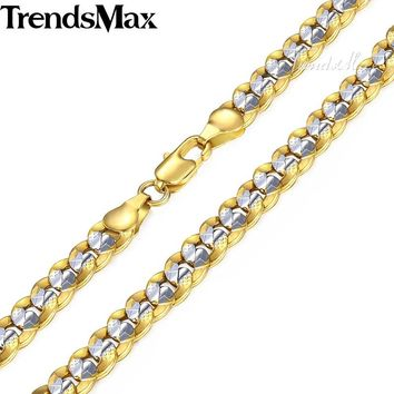 Trendsmax 6mm 60cm 70cm Gold Chain for Men Women's Necklace Gold Filled Curb Cuban Chain GN275