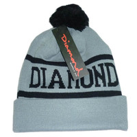 Diamond Supply Co Gray & Black Pom Beanie