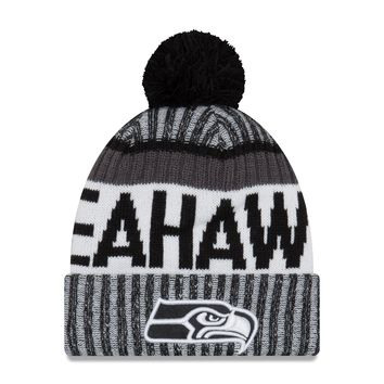 Seattle Seahawks NFL17 Black And White Sideline Cuffed Pom Knit f7ba422a2