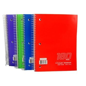 Wire Notebook - 180 sheets - 5 subject - Wide Rule Case Pack 24