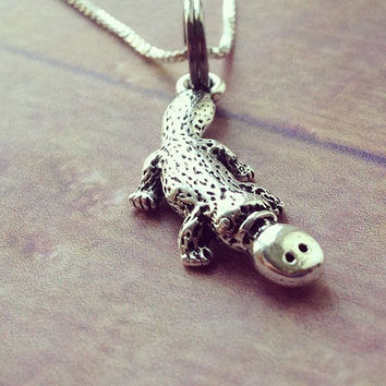 Silver platypus necklace, sterling silver animal jewelry, animal of the outback charm with box chain