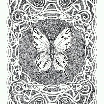 Sepia Butterfly with Border OSWOA mini 4 x 6 original by LiseWinne