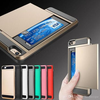 Dual Layer Armor coque Phone Case with Slide Card fundas Cover Case Back for Iphone 5s 6 6s plus 7 7plus Samsung S6 S6 Edge S7 S8 S8 plus