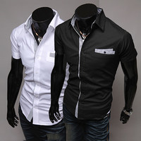 New Slim Fit Short Sleeve Men's Dress Shirt