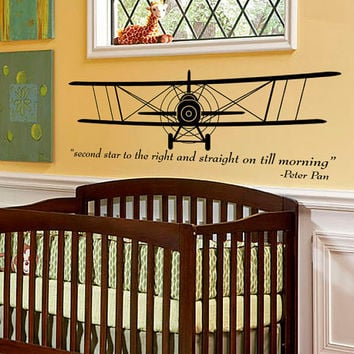 Wall Decal - Vintage Airplane - Bi-Plane - aeronautical pilot wall art sillhouette kids room decal with Peter Pan quote