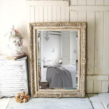 Large Cream Ornate Mirror, Shabby Chic Antique Cream and Gold Mirror, Vintage Ornate Bathroom Mirror, Farmhouse Mirror, Large Heavy Mirror