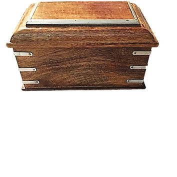 Wooden Mens Trinket Box / Vintage Foreside Box / Treasure Chest / Wood Metal Wrapped on Edges / Vintage Wooden Box Made in India