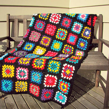 Granny Square Blanket Afghan Blanket Crochet Blanket Sofa Throw Deck Rug Home Decor Baby Kids Blanket Housewarming Gift CHOOSE YOUR SIZE