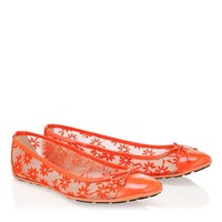 Neon Flame Lace and Patent Ballerinas | Walsh | Spring Summer 2014 | JIMMY CHOO Flats