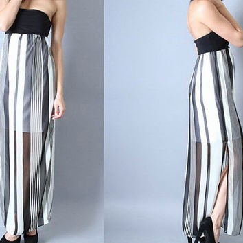 Black and White Striped Strapless Maxi Dress Women