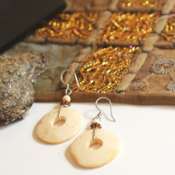 Earrings Boho Style Drop Earrings Ear Wires Antique Carved Bone Primitive Jewelry Ivory Beads Copper Organic Gypsy Jewelry Earrings Drops