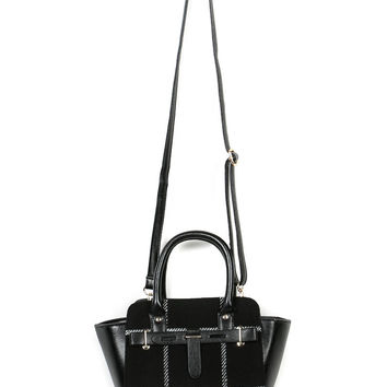 Black Plaid PU Panel Crossbody Bag