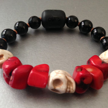 Men's protection bracelet. Skull symbolizes Fearlessness, Power, Strength, Wisdom and guidance,  overcoming death, surviving difficult times