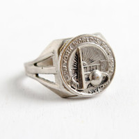 SALE- Vintage Chicago 1939 World's Fair Ring- Art Deco Adjustable 1930s Silver Tone New York Collectible Jewelry