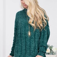 Lavinia Ribbed Chenille Sweater | Green