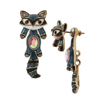 MINI CRITTERS RACCOON EARRINGS: Betsey Johnson