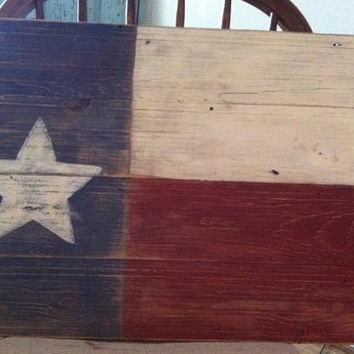 Distressed Texas Flag on Vintage Pine Boards/ Red, White & Blue Wood Texas Flag/ Home Decor