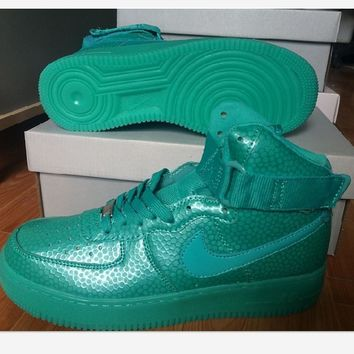 NIKE Women Men Running Sport Casual Shoes Sneakers Air force High tops Scale Green