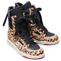 Leopard High Top Trainer with Lace Up Closure