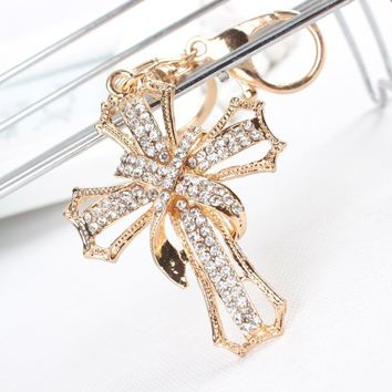 Crystal Cross Key Chain, Purse Pendant