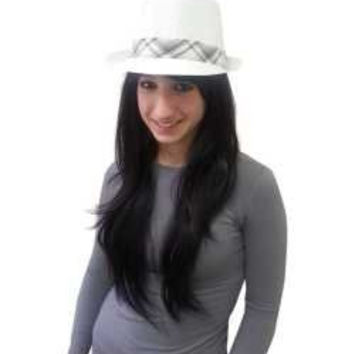 White Lite Fedora Hat S/M - Casually Elegant White Lite Fedora Hat In S/M Size