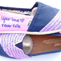 The Addie - Light Pink and Navy Blue Custom TOMS