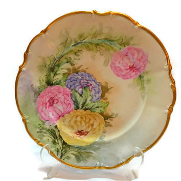 """Bavaria Plate  w/ Hand Painted Peonies- Germany Hutschenreuther - 24K Gold Trim - Osborne China 10"""""""