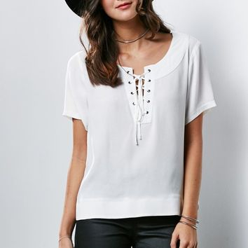 Honey Punch Lace-Up Short Sleeve Top - Womens Shirts - White