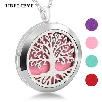 Hollow Out Tree Of Life Magnetic Aromatherapy Diffuser Necklace Jewelry Perfume Locket Pendant Essential Oil Locket Necklace