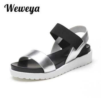 Weweya 2017 New Summer Women Sandals Shoes Fashion Peep toe Flats Shoes Woman Roman Fe