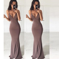 2016 new autumn fashion casual brief solid  sleeveless deep v  neck high waist floor length women dress ladies clothing
