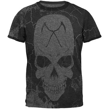 Grim Reaper Skull Distressed Mens Ringer T Shirt