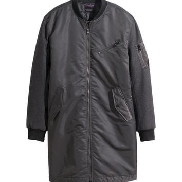 H&M - Long Pilot Jacket - Dark gray - Men