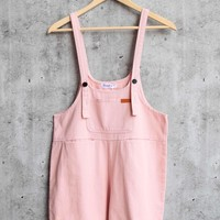 over it - shortall overalls - pink denim