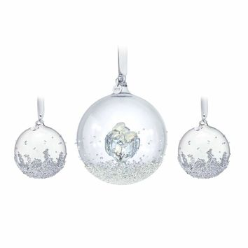 Swarovski Crystal Christmas Ornaments Set of 3 CHRISTMAS BALLS 2016 #5223282