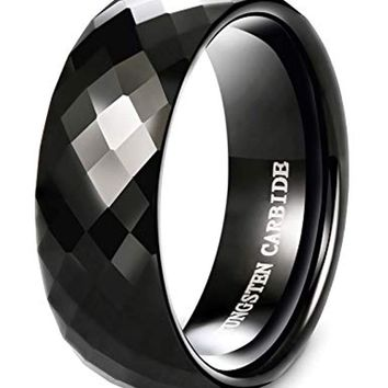 CERTIFIED 8MM Black Diamond Faceted Tungsten Men Wedding Band Promise Ring