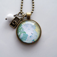 Map of Arctic Circle Necklace - Custom Jewelry - Travel Pendant - You Choose Bead and Charm - North Pole - Greenland - Canada and Russia