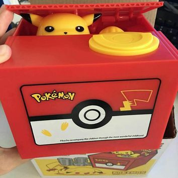 PVC funny saving box toy Pikachu paw take coin into the box creative coin box funny toy piggy bank  toy (Color: Red)