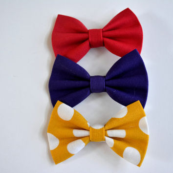 Set of three-hair bows, Small Solid Purple Hair Bow, Small Pink Hair Bow, Mustard Yellow and White Polka Dots Hair Bows